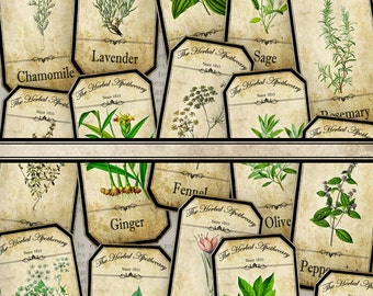 Herbal Apothecary Bottle Labels Jar Labels Tags hobby crafting printables digital graphics instant download digital collage sheet - VD0519
