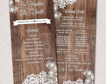 "Lace Wedding Program 4"" x 9"" or Menu"