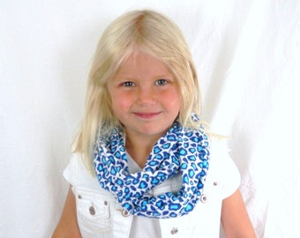 Girls Cotton  Infinity Scarf in Blue Cheetah Animal Print Jersey Knit Loop Scarf