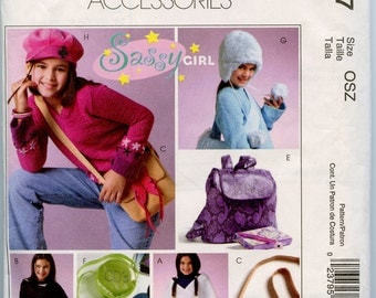 McCall's 4727 Sassy Girls Accessories Sewing Pattern Hat Purse Poncho Backpack Messenger Bag CD Case UNCUT