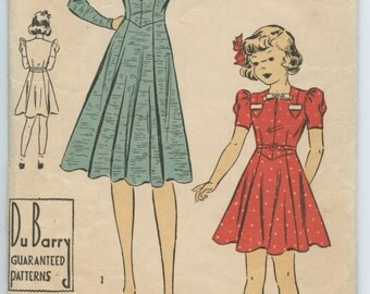1930s DuBarry 2402B Vintage Girls Dress Pattern Pocket Detail Long or Short Sleeves Vintage Sewing Pattern Breast 28