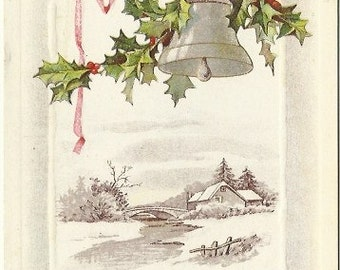 Log Cabin with a Bridge over Stream Happy New Year Vintage Postcard Sketch Silver Bell Holly Branch Pink Ribbon