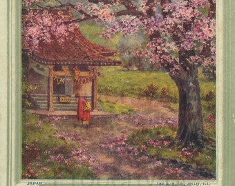 japanese garden cherry blossoms vintage advertising digital hand designed art scrapbooking card