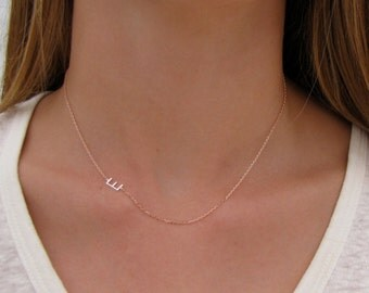 Rose Gold Necklace with Silver Initial - Initial Necklace - Custom Initial Necklace - Personalized Jewelry