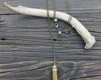 Arrowhead Bullet Casing Necklace - One of a Kind - Turquoise 45 Auto Shell Casing Pendant