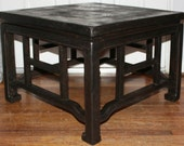Vintage Thomasville Furniture Oriental Style Low Profile Hollywood Regency Wooden End Table Chinoiserie Fretwork Details Ebonized Finish