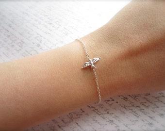 Silver Swallow Bracelet, Swallow Jewelry, Bird Jewelry, Bird Bracelet, Made in Sweden, Swedish Jewelry, Bridal Party Gift