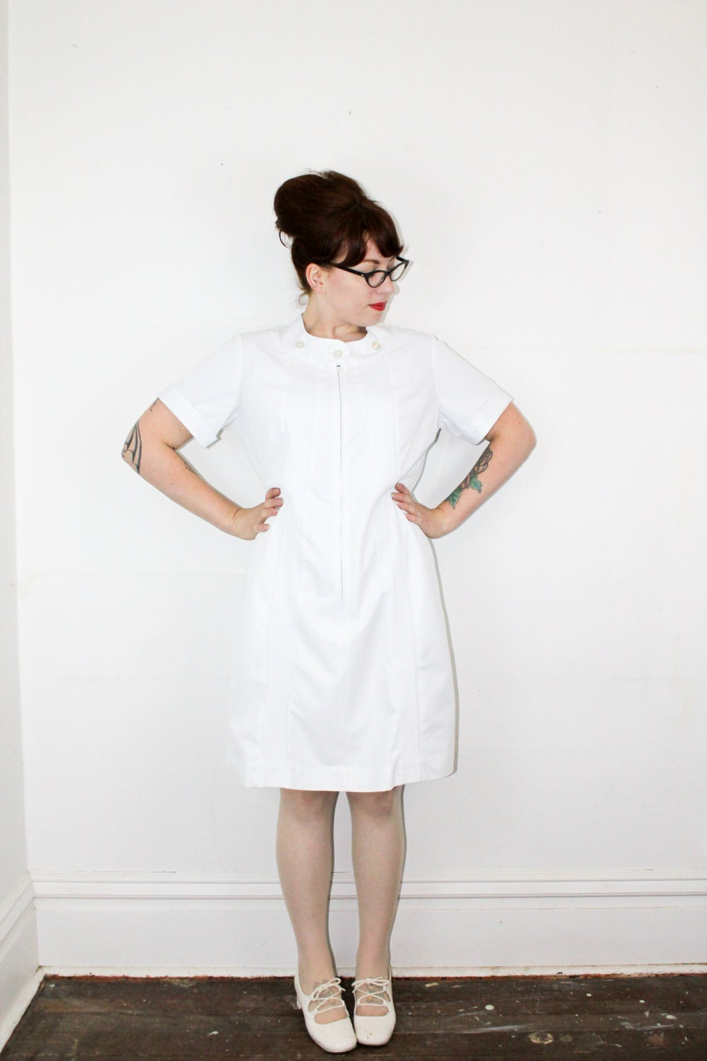 White Nurse Uniform Dress 99