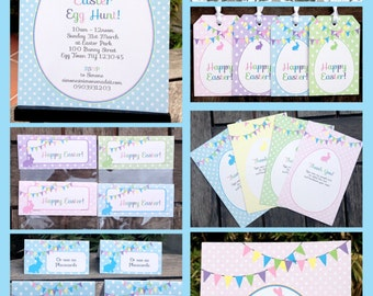 Easter Party Invitations & Decorations - full Printable Package - INSTANT DOWNLOAD with EDITABLE text - you personalize at home
