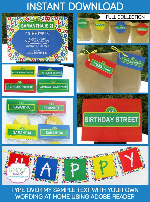Sesame Street Birthday Party Invitations & Decorations - EDITABLE text printable collection - you personalize at home - INSTANT DOWNLOAD