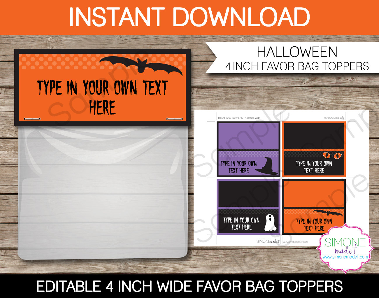 halloween treat bag toppers 4 inches wide by simonemadeit