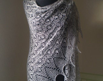 FREE SHIPPING Hand knitted triangular dove grey lace shawl, luxurious baby alpaca and silk MADE  to order