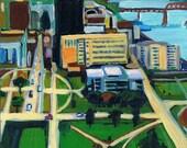 "Baton Rouge, LA, Original Painting, Urban Landscape Art, LSU, Louisiana Cityscape, 8 x 8"" x 3/4"""
