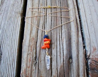 Made to order Spirit Warrior necklace can be made in other assortment of crystals
