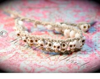 Reiki Jewelry Bracelet White Howlite Gemstone Skull Bracelet, hand woven