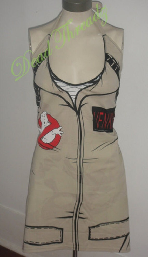 Ghostbusters Venkman Suit Glow in the Dark Altered re purposed sexy diy halter top shirt dress tunic choose size