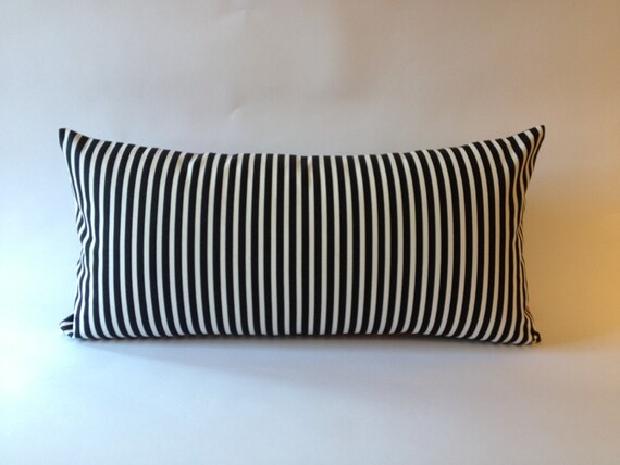 10x20 To 12x24 Decorative Throw Pillow Cover Black and White Striped Medium Weight Cotton- Invisible Zipper Closure