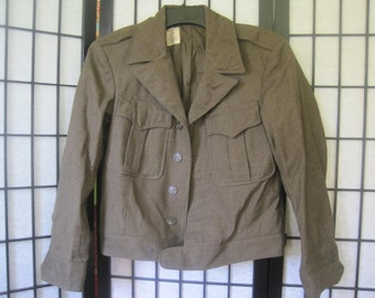 Mens 1940s Vintage US Military Wool Field Jacket Khaki Olive Green Short 36 S  Army 1943 Mint Ike Eisenhower 40 Chest