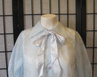 Vintage 1950s 1960s Robe by Marilyn 40 Semi Sheer Light Blue Feminine Peignor with Bow Juliet Sleeve L XL Extra Large