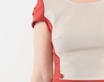 Retro dress, A line dress, Red orange party dress, Pleated short sleeve orange red dress, Orange red midi dress, Sizes: L-XL