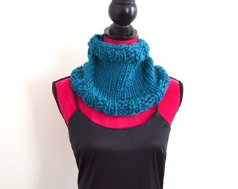Hand Knit Chunky Winter Cowl - Teal Blue Neck Warmer - Handmade Accessory