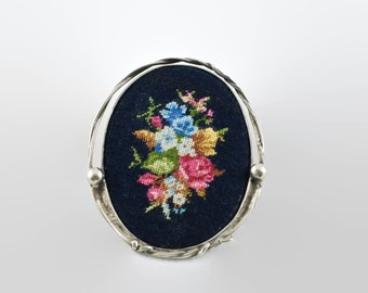 Vintage Sterling Silver Petit Point Embroidered Brooch/Pendant