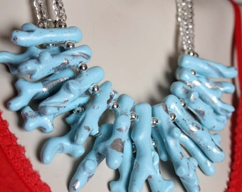Ice Blue Coral Necklace / Light Blue Statement Necklace