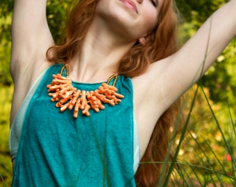 Chunky Orange Necklace / Peach Coral Jewelry / Orange Statement Necklace