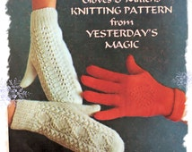 Instant Download PDF Knitting pattern to make Aran Wool Mittens and Lacy Gloves Womens Winter Ski Three Styles