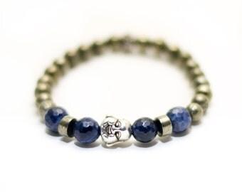 Pyrite and Sodalite Mala Beads, Wrist Mala, Mala Bracelet, Buddha Bracelet, Yoga Mala, Yoga Jewelry, Pyrite Bracelet