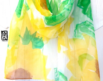 Silk Scarf Hand Painted, Birthday Gift, Yellow Wild Sunflowers Scarf, Yellow Silk Scarf, Silk Scarves Takuyo, 11x60 inches. Made to order.