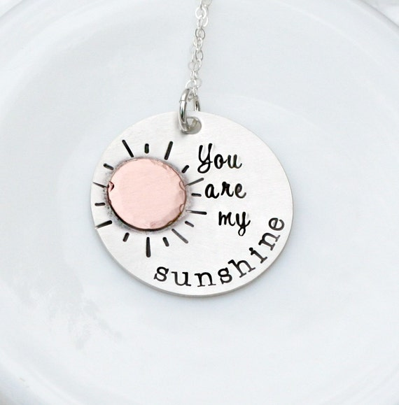 You Are My Sunshine Necklace - Hand Stamped Necklace - Personalized Jewelry - Mommy Necklace