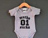 SALE* Muthasucka Baby One Piece (Rock baby onesie). Grey Marl. Alternative baby Bodysuit / Babygrow