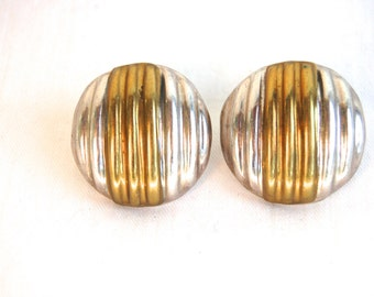Round Mixed Metal Earrings Mexican Laton Posts Vintage Sterling Silver and Brass Modernist Mexico Striped Domes