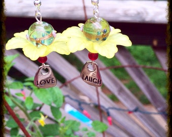 Hippie Earrings with Laugh and Love Charms, Flower Earrings, Yellow Flower Earrings, Bohemian Earrings