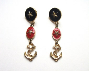 Vintage Anchor Earrings With Nautical Colors and Gold Starfish