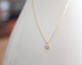 Tiny CZ Necklace // Gold or Silver