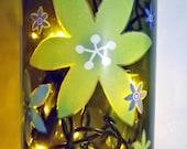 SALE~~~FLOWER POWER Bar/Table Glass Bottle Accent Lamp/Light-Great Gift Idea