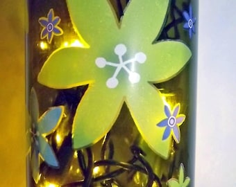 SALE~~~FLOWER POWER Bar/Table Glass Bottle Accent Lamp/Light-Great Gift Idea