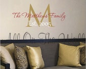 Family Vinyl Wall Decal Personalized Name Date Vinyl Lettering Home Decor