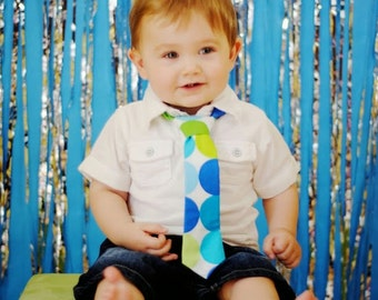 Baby Boy Tie Photo Prop Birthday Cake Smash Neck Tie First Birthday Sizes Newborn-2T Disco Dots Royal Turquoise Blue Lime Green White Modern
