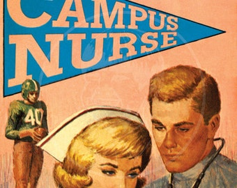 Campus Nurse - 10x15 Giclée Canvas Print of a Vintage Pulp Paperback Cover