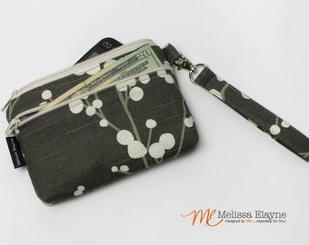 Medium, iPhone 6 Wristlet Wallet, Cell Phone Clutch with Removable Strap