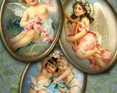 Victorian Angels and Cherubs - 30x40mm Oval Images - Digital Collage Sheet - Instant Download and Print