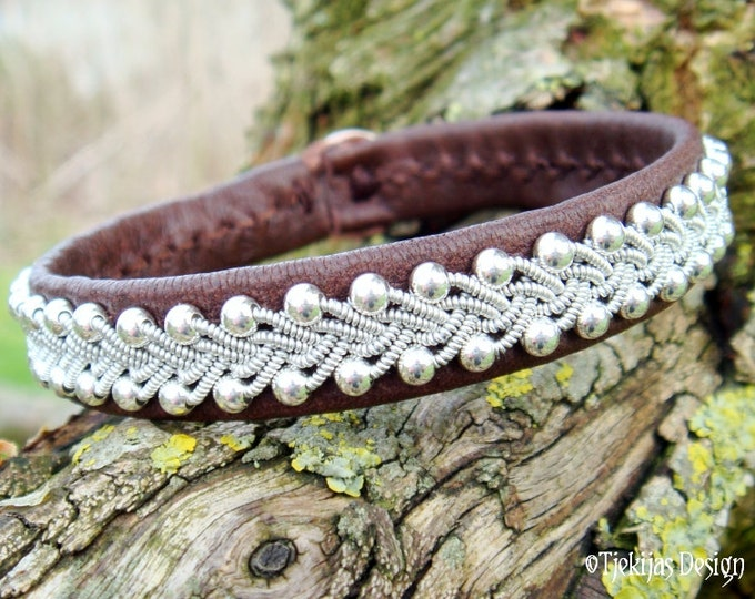 SKINFAXE Viking Silver Jewelry Swedish Lapland Sami Bracelet in Antique Brown Reindeer Leather, Braided Pewter and Sterling Silver Beads