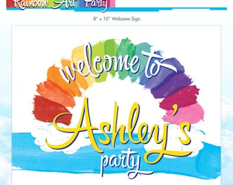 Rainbow Art Party Welcome Sign - Rainbow Party - Melted Crayon Art Door Sign - DIY Printable Birthday Sign - Made to Order - Welcome