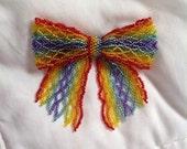 Rainbow Bead Ribbon Bow, Made-To-Order, Pin, Hairclip, Bowtie