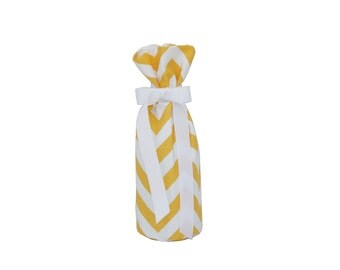 Reusable Wine Bottle Bags - Chevron Yellow & White