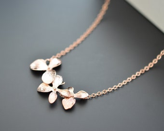 10% OFF, Orchid flower necklace, Rose gold necklace, Bridal necklace, Bridesmaid, Anniversary,Christmas gift,Mother's Day Gift,Birthday gift