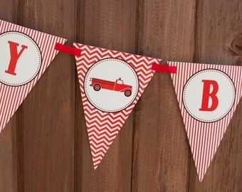 Fire Truck Birthday Banner - Firfighter Birthday Banner - PERSONALIZED - Red, Black & Cream - Digital PDF File
